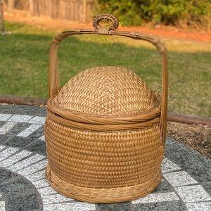 Vintage Wicker Storage Basket with Lid & Handle